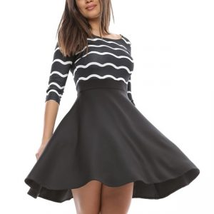 Rochie alb si negru din jerseu