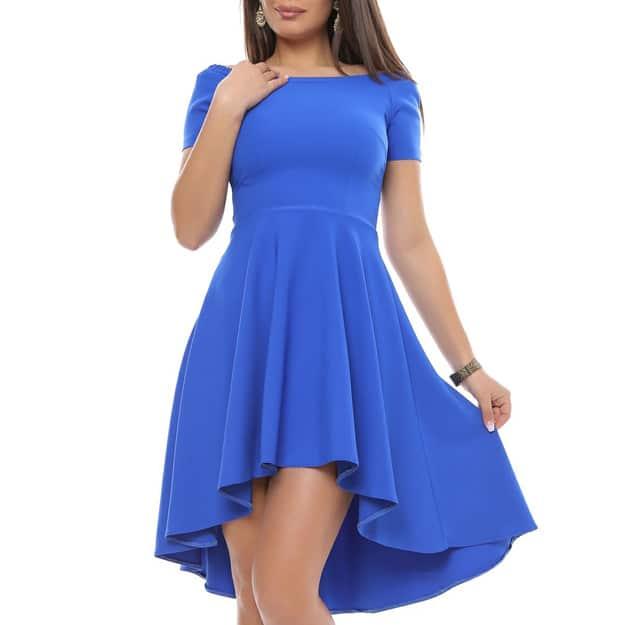 Rochie albastra cu trena pentru ocazii din jerseu
