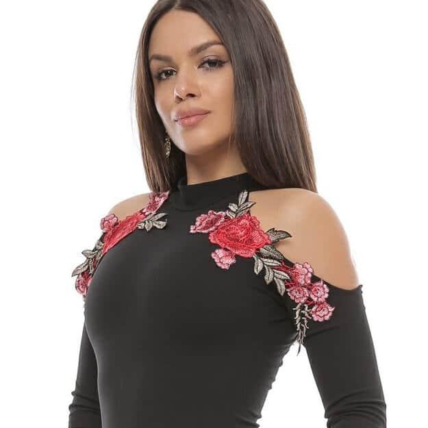 Rochie eleganta cu broderie florala big mag