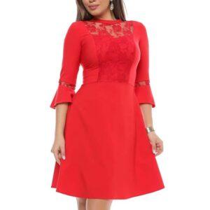 Rochie rosie midi cu decolteu