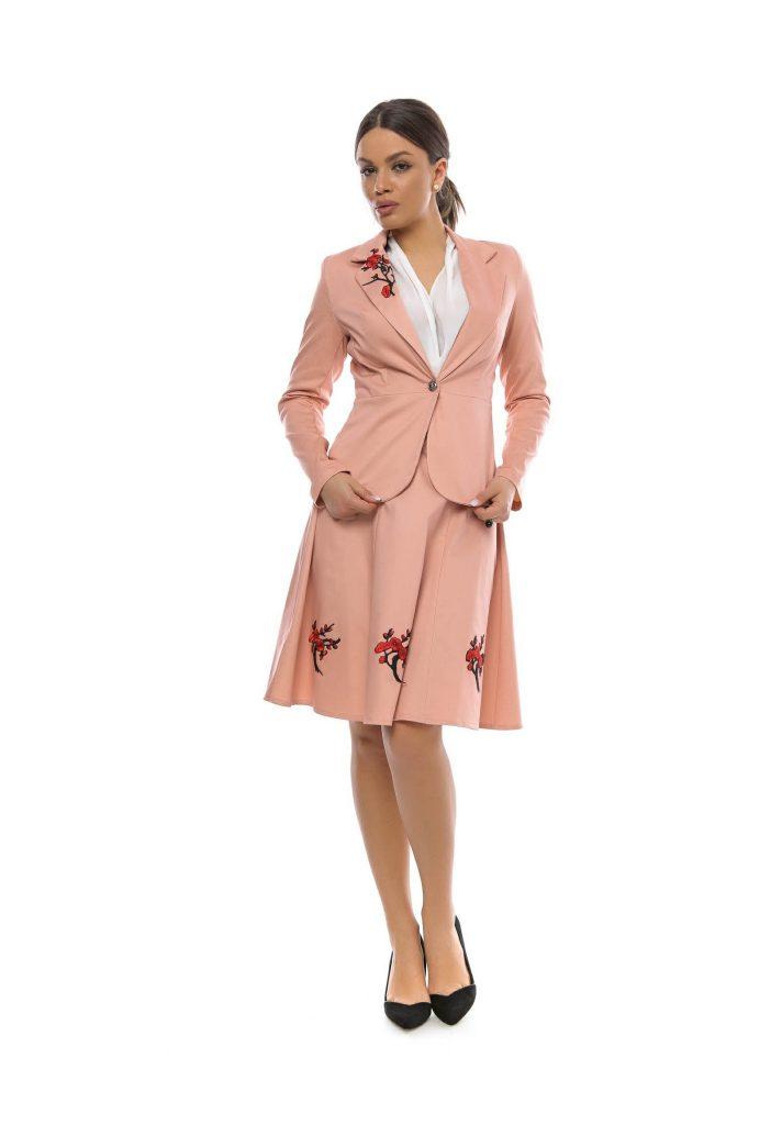 Sacou dama roz pudra florala big mag