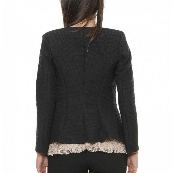 Sacou dama elegant negru din jerseu