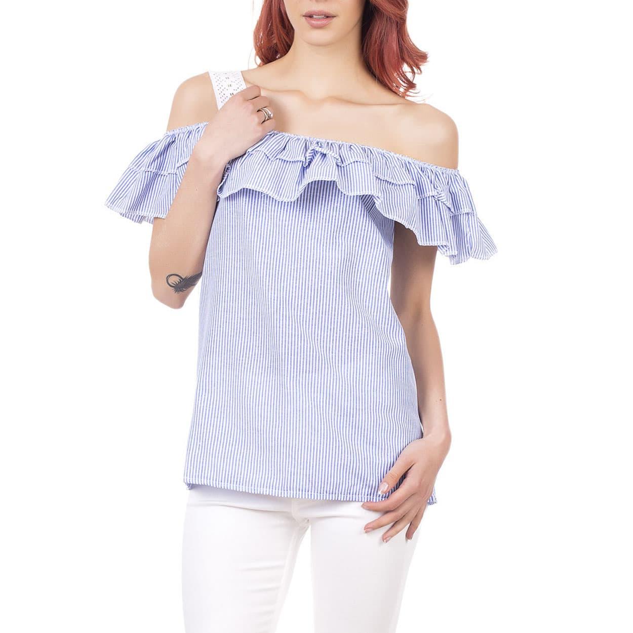 Bluza albastra de dama cu maneca scurta de vara