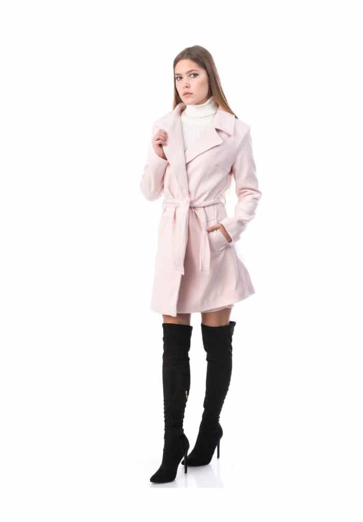 Pardesiu Dama Model NOU din stofa roz