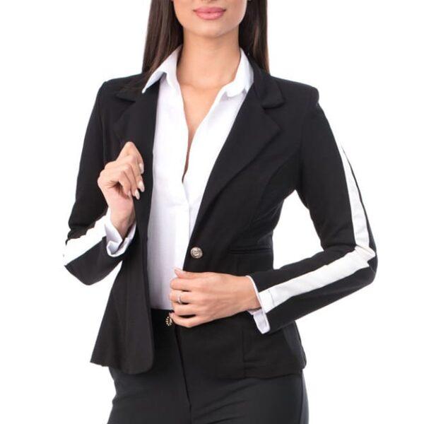 sacou dama elegant office cu dunga alba 03