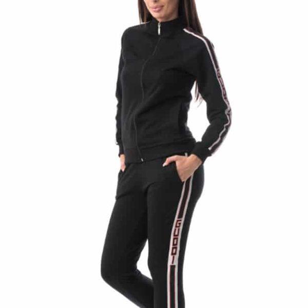 Trening negru bluză cu mânecă lungă și pantaloni